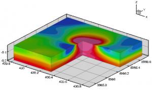 Рис. 2. Объемное распределение эффективной намагниченности, соответствующей выделенной перспективной магнитной аномалии