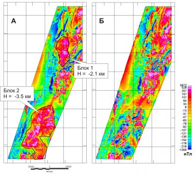 Рис. 3. Результаты геологического редуцирования 2-х блоков. А – аномальное магнитное поле с нанесенными контурами блоков и расчетными параметрами; Б – редуцированное магнитное поле (разность исходного поля и поля модели).