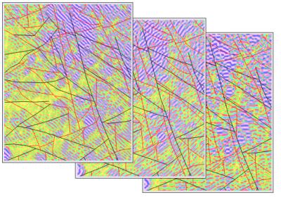 Рис. 1. Первые три компоненты эффективной намагниченности и результаты интерпретации - схема разрывных нарушений
